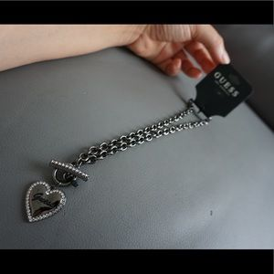 Guess dark silver necklace